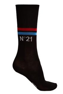 Черные хлопковые носки с полосками No.21