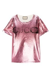 Хлопковая футболка с ламинацией Gucci