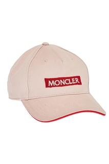 Бежевая кепка с логотипом Moncler