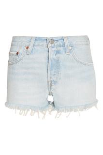 Голубые джинсовые шорты с бахромой 501® SHORT Levis®