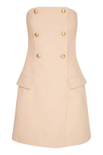 Бежевое платье с открытыми плечами T Skirt