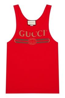 Красная майка с логотипом Gucci
