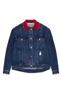 Джинсовая куртка с вышивками Vivetta