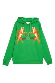 Хлопковое худи с тиграми Gucci