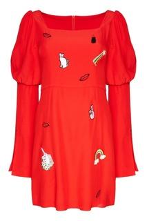 Красное платье с вышивками Vivetta