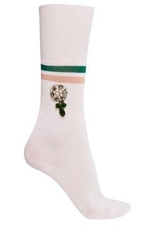 Белые хлопковые носки с кристаллами No.21