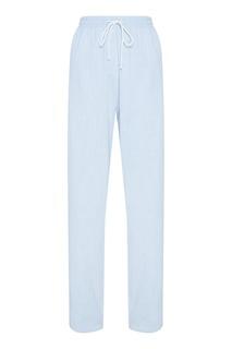 Голубые хлопковые брюки Mm6 Maison Margiela