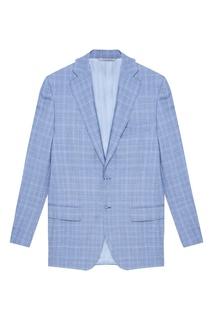 Серо-голубой костюм в клетку Canali