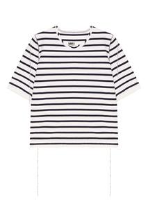Хлопковая футболка в синюю полоску Mm6 Maison Margiela