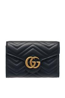 Черный кожаный кошелек GG Marmont Gucci
