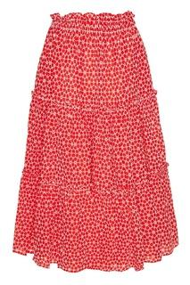 Красная юбка с вышитыми цветами Lisa Marie Fernandez