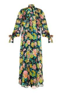 Шелковое платье с цветами Msgm