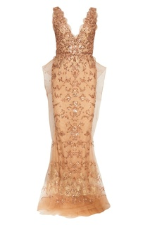 Платье-макси с пайетками Marchesa