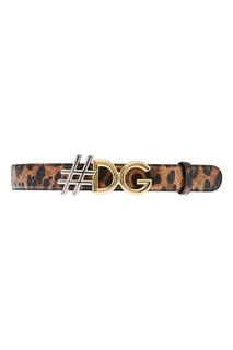 Кожаный ремень с леопардовым принтом Dolce & Gabbana