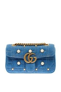Джинсовая сумка с жемчужинами GG Marmont Gucci