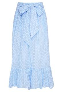 Голубая хлопковая юбка с цветами Lisa Marie Fernandez