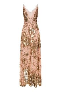 Шелковое платье с золотыми пайетками Valentino