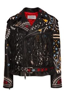 Кожаная куртка с яркой вышивкой Valentino