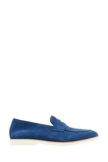 Синие замшевые лоферы Canali