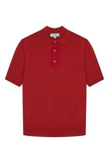 Красный хлопковый джемпер-поло с пуговицами Canali