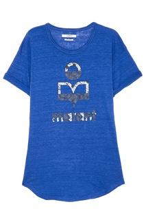 Синяя льняная футболка с логотипом Isabel Marant Etoile