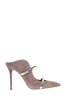 Замшевые туфли Maureen с серебристыми полосками Malone Souliers