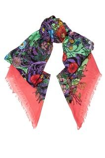 Хлопковая шаль с цветочным принтом Gucci