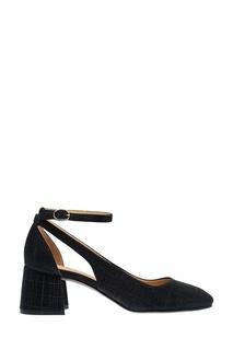 Черные текстильные туфли с люрексом What FOR