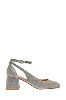 Серебристые туфли из текстиля с люрексом What FOR