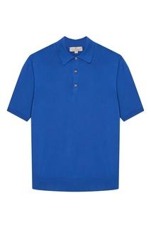 Синий хлопковый джемпер-поло Canali