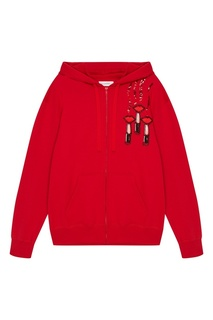 Красное худи с вышивкой пайетками Valentino