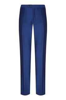 Синие брюки из шерсти и мохера Canali
