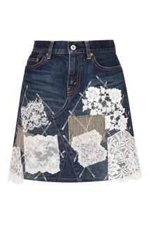 Джинсовая мини-юбка с кружевом Junya Watanabe