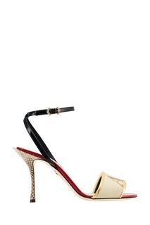 Босоножки с золотистой вышивкой Dolce & Gabbana
