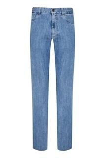 Голубые выбеленные джинсы Canali
