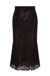 Черная юбка-карандаш из кружева Dolce & Gabbana