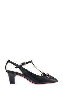 Кожаные туфли с кристаллами Gucci