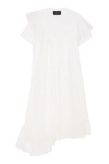 Белое платье с оборкам Simone Rocha