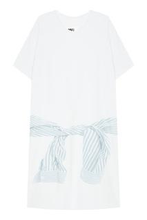 Хлопковое платье-футболка Mm6 Maison Margiela