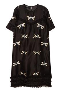 Шелковое платье со стрекозами Rochas