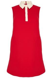 Красное платье с белым воротником RED Valentino