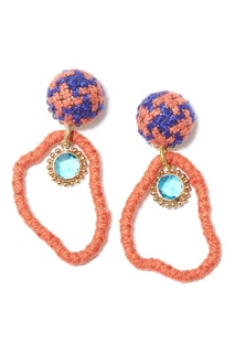 Плетеные серьги из оранжевых нитей Unique