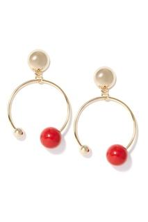 Золотистые серьги-кольца с красными бусинами Herald Percy
