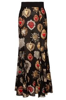 Юбка-макси с принтом Sacred Heart Dolce & Gabbana