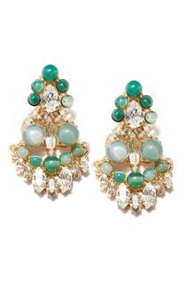 Серьги с зеленым агатом и кристаллами Anton Heunis