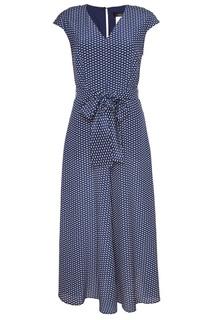 Синее платье-миди с поясом Max Mara Weekend