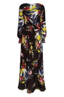 Черное шелковое платье с цветами Diane von Furstenberg