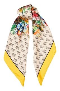 Шелковый платок с комбинированным принтом Gucci
