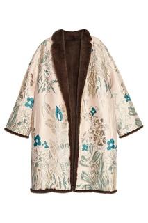 Жаккардовое пальто на меховой подкладке Alena Akhmadullina