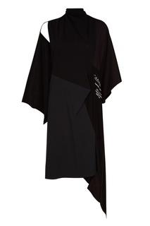 Черное асимметричное платье Balenciaga